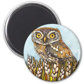 Day is full of joy - pearl-spotted owl 2 inch round magnet