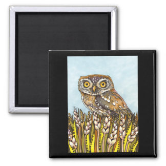 Day is full of joy - pearl-spotted owl 2 inch square magnet