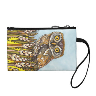 Day is full of joy - pearl-spotted owl change purse