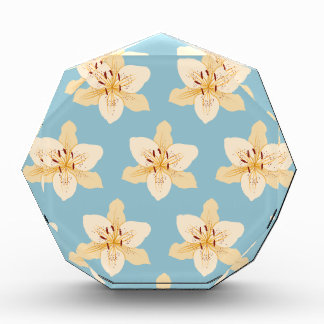 Day Lily Illustrative Big Ptn on Light Blue Acrylic Award