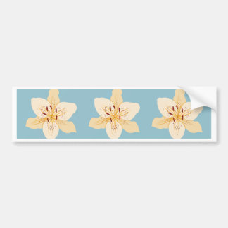 Day Lily Illustrative Big Ptn on Light Blue Bumper Sticker