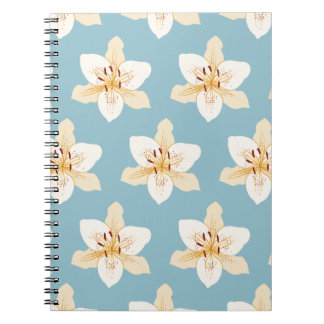 Day Lily Illustrative Big Ptn on Light Blue Notebook