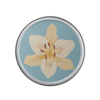 Day Lily Illustrative Design on Light Blue Bluetooth Speaker