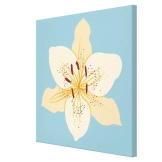 Day Lily Illustrative Design on Light Blue Canvas Print