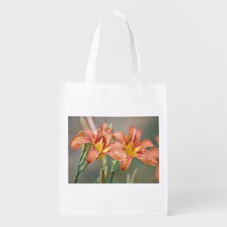 Day lily reusable grocery bag