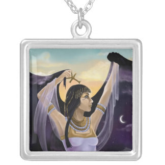 Day & Night Egyptian Goddess Silver Plated Necklace
