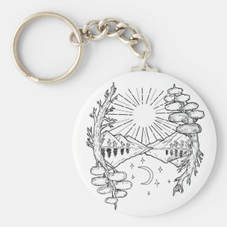 day-night-mountain-trees-root-TAT Keychain