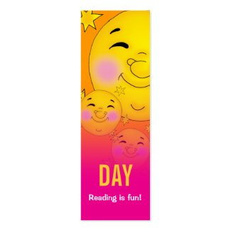 Day & Night - Reading is fun! bookmark Double-Sided Mini Business Cards (Pack Of 20)