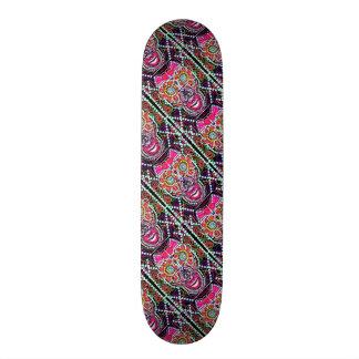 Day O' Dead Skulls Purple Argyle w/ Pink Bow Skate Deck