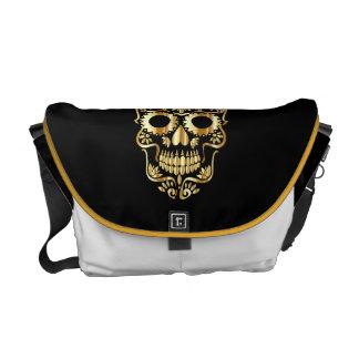 DAY OF DEAD BAG mexican GOLDEN SKULL MESSENGER BAG