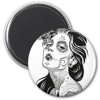 Day of dead sexy girl with roses magnet