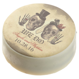 day of dead skeleton couple wedding chocolate dipped oreo