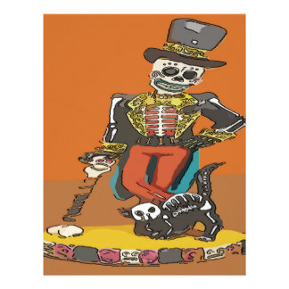 Day of Dead Skelton and Cat Letterhead