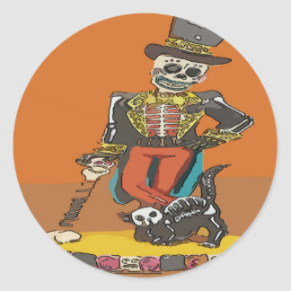 Day of Dead Skelton and Cat Classic Round Sticker