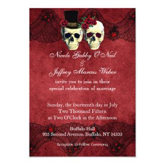 Day of Dead Skull Bride Groom Wedding Invitation