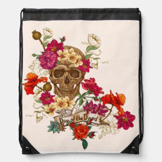 day of dead skull cool girly bag drawstring bag