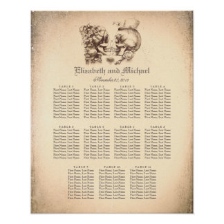 Day of Dead Skull Couple Wedding Seating Chart
