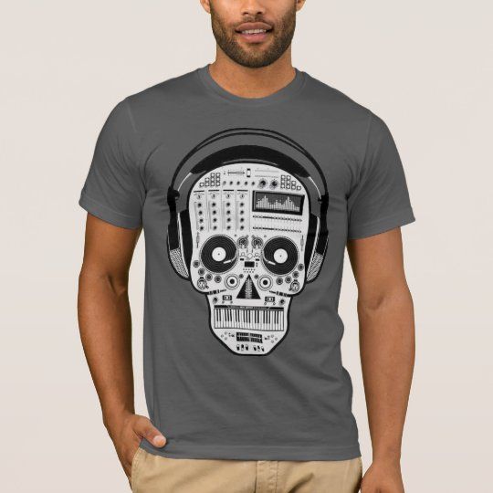 Day Of Dead Sugar Skull w/ Turntables & Headphones T-Shirt