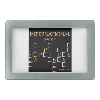 Day of Happiness- Commemorative Day March 20 card Rectangular Belt Buckle