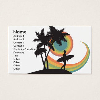 day of surfing vector design business card
