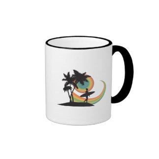 day of surfing vector design coffee mug