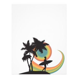 day of surfing vector design personalized letterhead