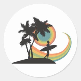 day of surfing vector design sticker