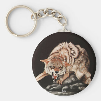 Day Of The Coyote, painting by DiDi Basic Round Button Keychain