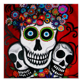 Day of the Dead 3 skulls Poster