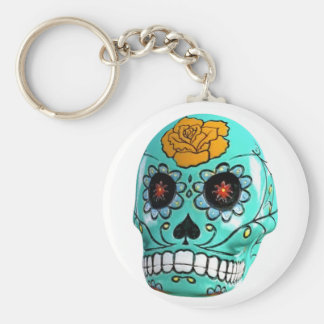 Day of the Dead Aqua Candy Skull Basic Round Button Keychain