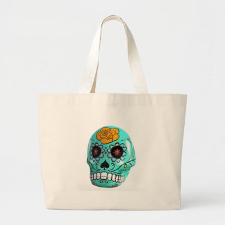 Day of the Dead Aqua Candy Skull Large Tote Bag