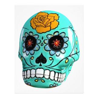 Day of the Dead Aqua Candy Skull Letterhead