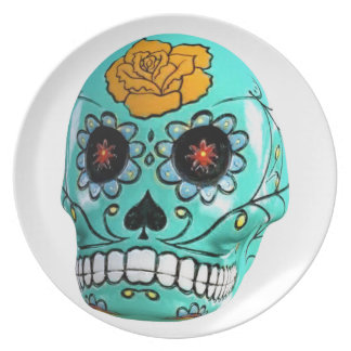 Day of the Dead Aqua Candy Skull Plate