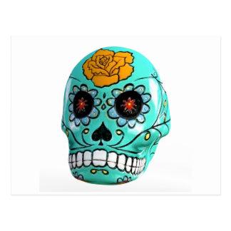 Day of the Dead Aqua Candy Skull Postcard