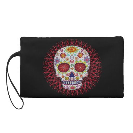 Day of the Dead Bag - Clutch Cosmetic Accessory Wristlets