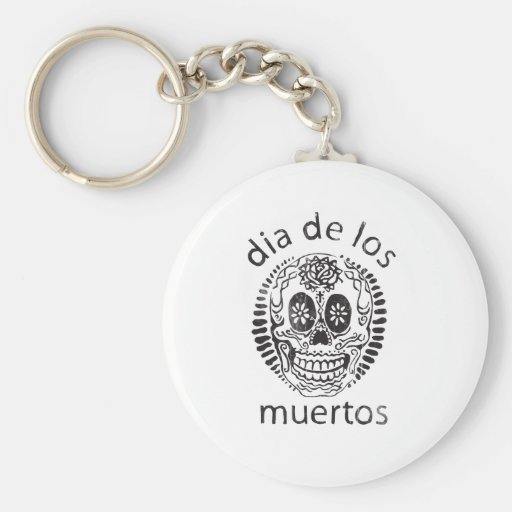 day of the dead basic round button keychain