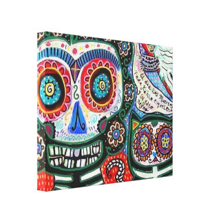 Day Of The Dead & Black Cat Canvas Print