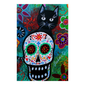 DAY OF THE DEAD BLACK CAT SKULL PAINTING POSTER