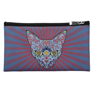 Day of the Dead Blue Cat Sugar Skull Cosmetic Bags