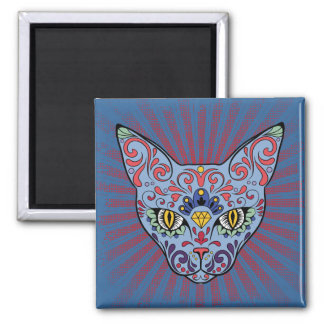 Day of the Dead Blue Cat Sugar Skull 2 Inch Square Magnet