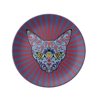 Day of the Dead Blue Cat Sugar Skull Plate