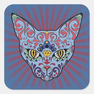 Day of the Dead Blue Cat Sugar Skull Square Sticker