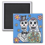 Day of the Dead Bride and Groom 2 Inch Square Magnet