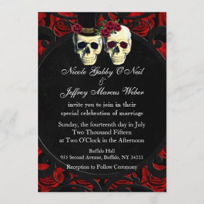 Day of the Dead Bride and Groom Wedding Invitation