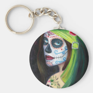 Day of the  Dead by Lori Karels Basic Round Button Keychain