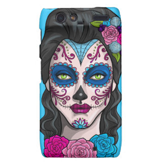 Day of the Dead Calavera Girl in Blue and Pink Droid RAZR Covers