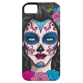 Day of the Dead Calavera Girl in Blue and Pink iPhone 5/5S Covers