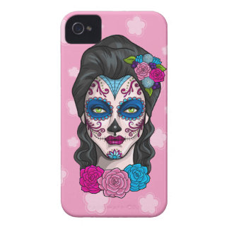 Day of the Dead Calavera Girl in Blue and Pink iPhone 4 Cover