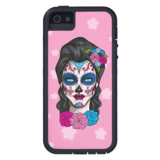 Day of the Dead Calavera Girl in Blue and Pink iPhone 5 Cover