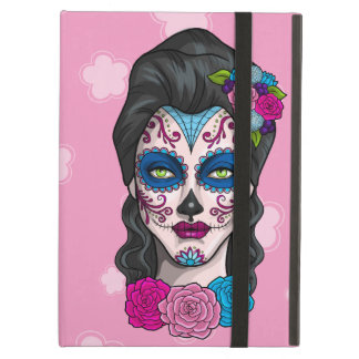 Day of the Dead Calavera Girl in Blue and Pink iPad Air Cover